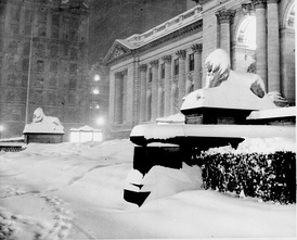 "Patience and Fortitude, the ""Library Lion"" statues, in the snowstorm of December 1948"