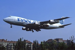 A Pan Am. Boeing 747-100 seen landing at Berlin Tempelhof in June 1987.