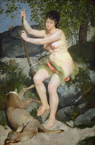 Oil painting of a nude woman who sits on a rock and leans on a bow. At her feet is a dead deer with its neck pierced by an arrow.