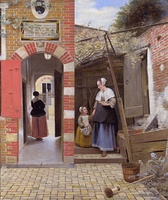 Pieter de Hooch, Courtyard of a House in Delft, 1658, a study in domestic virtue, texture and spatial complexity. The woman is a servant.[52]