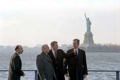Mikhail Gorbachev with Ronald Reagan and George H.W. Bush in New York on the day of the earthquake