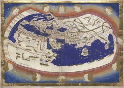 Ptolemy's world map (2nd century) in a 15th-century reconstruction by Nicolaus Germanus.