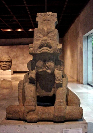 The Olmec San Martin Pajapan Monument 1 on exhibit in the Museum of Anthropology in Xalapa