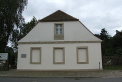 The one-room school in Reckahn, Brandenburg an der Havel, was founded 1773 and quotes Mark 10:14 at the entrance. It is now used as a local history museum.