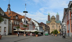 Main street in Speyer with the Speyer Cathedral in the background