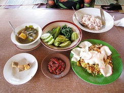 Examples of Sundanese cuisine; rich in fresh vegetables and adoring salted fish.