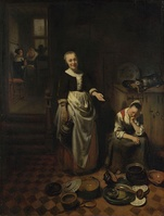 Nicolaes Maes, The idle servant; housemaid troubles were the subject of several of Maes' works.[54]