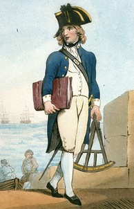 A full size portrait of a boy with long golden hair wearing the uniform of a midshipman: a bicorne hat, a blue tails coat with white patches on the collar, a white waistcoat, breeches and hose, and a sword on the left side