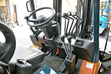 Forklift cab with control layout.