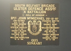 Bratty commemorated with other South Belfast UDA members on a Sandy Row plaque
