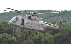 An AW101 undergoing VH-71 testing near the Lockheed facility in Owego, New York