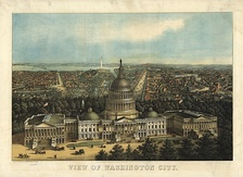 Bird's-eye view of Washington toward the west and northwest with The Capitol – 1871