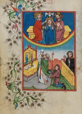 A page from the Waldburg Prayer Book illustrating the celebration of the Holy Eucharist on Earth before the Holy Trinity and the Virgin Mary in Heaven