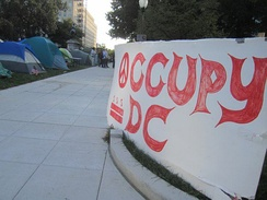 """Occupy DC"" sign and tents in downtown Washington, D.C. October, 2011"