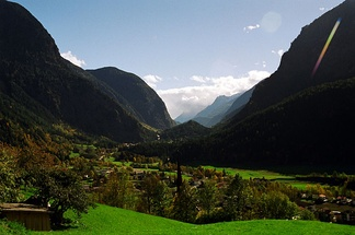 Ötztal valley in Tirol, Austria, looking south from the town of Oetz