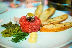 Steak tartare in the French Quarter of San Francisco