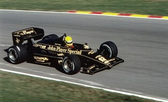 Senna driving the Team Lotus 97T at the 1985 European Grand Prix.