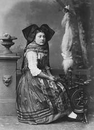 An Alsatian woman in traditional costume, photographed by Adolphe Braun