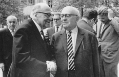 Max Horkheimer (left, front), Theodor Adorno (right, front), and Jürgen Habermas (right, back) 1965