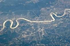 Baton Rouge as viewed from the International Space Station in May 2011, looking west