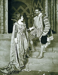 Harding as Sir Francis Drake in the 1912 play Drake, with Amy Brandon Thomas, at His Majesty's Theatre, London