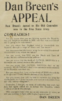 Dan Breen's appeal to free state troops