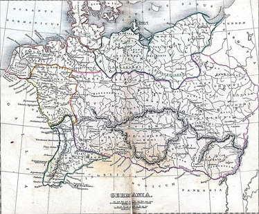 Map 9: Depiction of Magna Germania in the early 2nd century including the location of many ancient Germanic peoples and tribes (by Alexander George Findlay 1849)