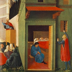 Fra Angelico's painting: The Story of St Nicholas - Giving Dowry to Three Poor Girls. The 15th-century painting relates to the story of a poor man with three daughters. In those days a young woman's father had to offer prospective husbands a dowry. Without a dowry, a woman was unlikely to marry. Mysteriously, on three occasions, so goes the story, a bag of gold appeared in their home, for the dowries, courtesy of St Nicholas. Later, St Nicholas came to be known as Santa Claus.[70]
