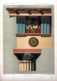 Reconstructed color scheme of the entablature on a Doric temple.