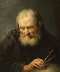 A painting of a man studying