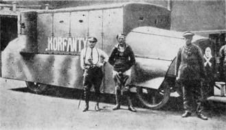 Polish armored car Korfanty in 1920 made by Polish fighters in Woźniak foundry. It was one of the two created, the second was named Walerus – Woźniak.[1]