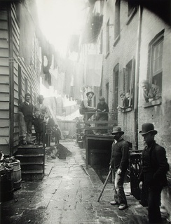 Jacob Riis, Bandit's Roost, 1888, from How the Other Half Lives. Bandit's Roost at 59½ Mulberry Street was considered the most crime-ridden part of New York City.