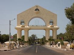 The Arch 22 monument commemorating the 1994 coup which saw the then 29-year-old Yahya Jammeh seize power in a bloodless coup, ousting Dawda Jawara, who had been President of the Gambia since 1970[36]