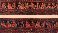 A scene of historic paragons of filial piety conversing with one another, Chinese painted artwork on a lacquered basketwork box, excavated from an Eastern-Han tomb of what was the Chinese Lelang Commandery in modern North Korea
