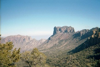 Casa Grande is a prominent peak in the Chisos Mountains of the Big Bend area of west Texas.  The view is from the Pinnacles Trail in Big Bend National Park.
