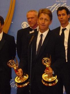 TV producer and writer Bradley Bell accepting Daytime Emmy Awards for his work on the daytime soap opera The Bold and the Beautiful in 2010