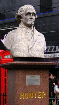 Bust of Hunter near where he lived in Leicester Square, London