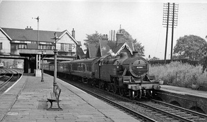 Calverley & Rodley Station, with a St Pancras to Bradford express on its last leg from Leeds in 1964