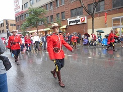 RCMP in dress uniform Canada Day 2015 on Saint Catherine Street - 063