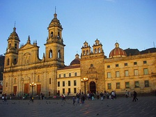 Plaza de Bolívar is the largest plaza in Bogota, Colombia, and home to one of the largest cathedrals in South America, the Cathedral of Bogota.