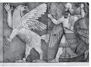 Assyrian stone relief from the temple of Ninurta at Kalhu, showing the god with his thunderbolts pursuing Anzû, who has stolen the Tablet of Destinies from Enlil's sanctuary[10]:142 (Austen Henry Layard Monuments of Nineveh, 2nd Series, 1853)