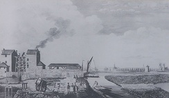 Chelsea Waterworks, 1752. Two Newcomen beam engines pumped Thames water from a canal to reservoirs at Green Park and Hyde Park.