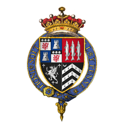 Quartered arms of John Russell, 1st Earl of Bedford as seen on his Garter stall plate. Quarterly of four: 1st grand quarter: Russell quartering Azure, a tower argent (de la Tour); 2: Gules, three herrings hauriant argent (Herringham); 3: Sable, a griffin segreant between three cross crosslets argent (Froxmere); 4: Sable, three chevronels ermine with a crescent for difference (Wyse)