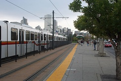 "Denver RTD Light Rail car at the ""Colfax at Auraria"" station"