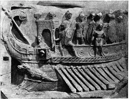 A Roman naval bireme depicted in a relief from the Temple of Fortuna Primigenia in Praeneste (Palastrina),[5] which was built c. 120 BC;[6] exhibited in the Pius-Clementine Museum (Museo Pio-Clementino) in the Vatican Museums.