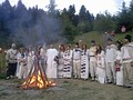 Dacian Sacred Fire ceremony at Detunata temple during 2013 in Romania.