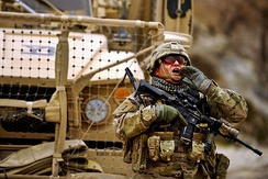 A SSG of the 182nd Infantry Regiment during deployment in Afghanistan.