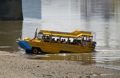 A slipway on the south bank is used by amphibious buses