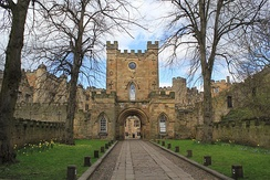 The entrance to Durham Castle, the bishops' palace until 1832 when it moved to Auckland Castle