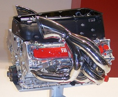 A 2004 Ferrari model 054 V10 engine of the Ferrari F2004